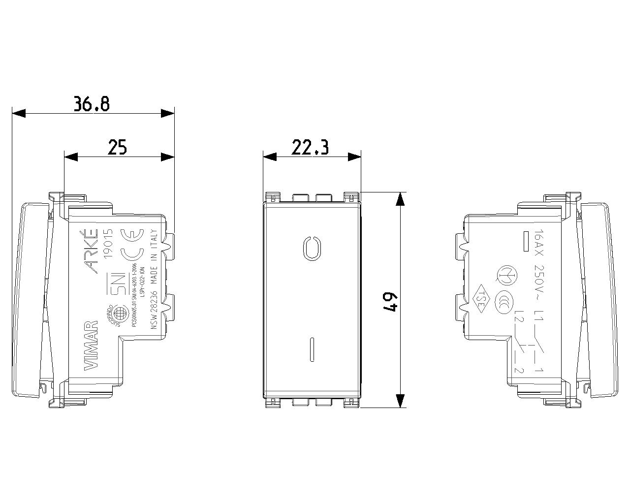 19013 M VIMAR ARKE/' METAL INVERTITORE 1P 16AX