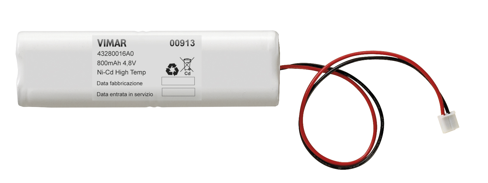 VIMAR 00910 Batteria ricaricabile Ni-MH 4,8V 80mah RICAMBIO torce elettroniche