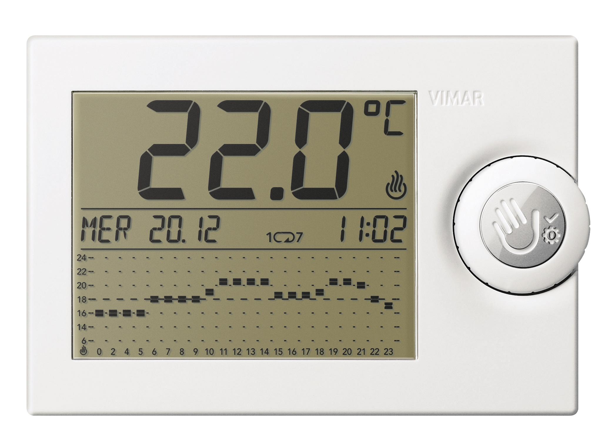 Comfort clima avanzato cronotermostato a cursori bianco for Termostato touchscreen gsm vimar 02906